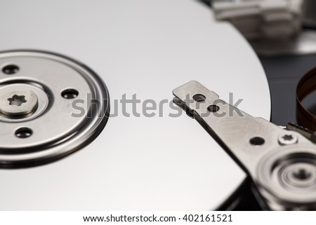close up shot of hard disk platters and magnetic head on a moving actuator arm