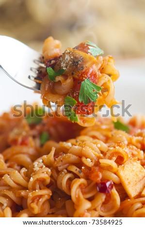 close up shot of hot pasta - stock photo