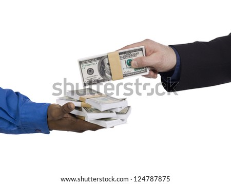 Close-up shot of human hand giving money to a man. - stock photo