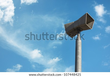 close up shot of industrial megaphone over clear sky