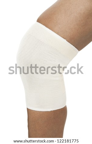 Close-up shot of Knee pad of a sportsman - stock photo