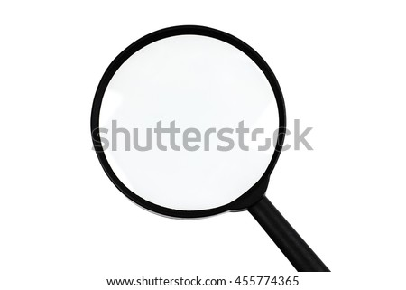Close up shot of magnifying glass isolated on white. Image with clipping path