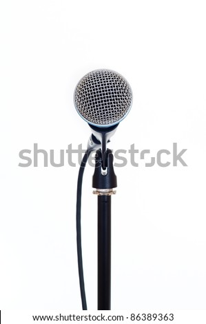close up shot of microphone isolated on white background - stock photo