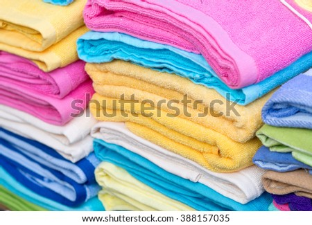 close up shot of new color towels - stock photo
