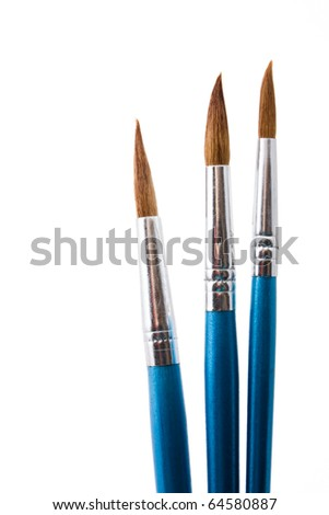 close up shot  of paintbrushes isolated on white - stock photo