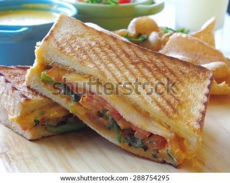 Close up shot of panini sandwich       - stock photo