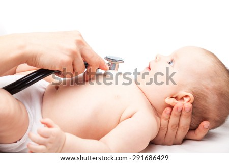 Close-up shot of pediatrician examines three month baby girl. Doctor using a stethoscope to listen to baby's chest checking heart beat