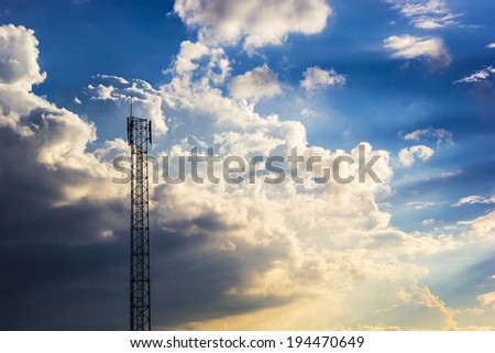 Close up shot of Phone tower antenna & Beutiful Cloud