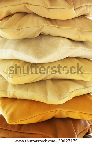 Close up shot of pillows variety pile - stock photo