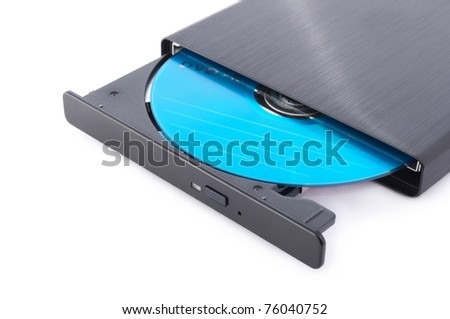 close up shot of portable slim external CD DVD burner writer isolated on white - stock photo