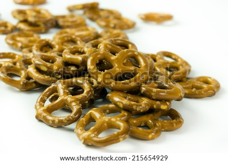Close up shot of pretzels on white background