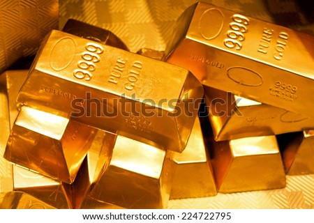 Close up shot of pure gold bars  - stock photo