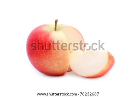 close up shot of red sliced apple isolated on white - stock photo