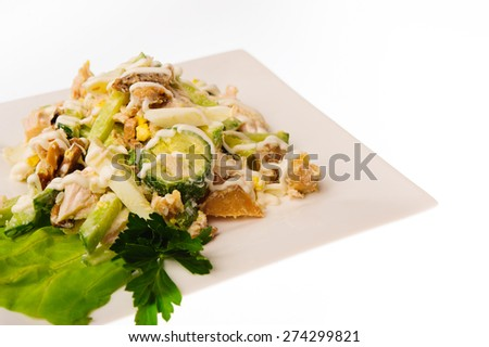 close up shot of restaurant food isolated on white background