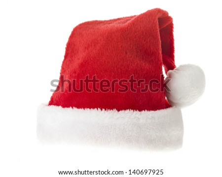 Close-up shot of Santa hat isolated on white background - stock photo