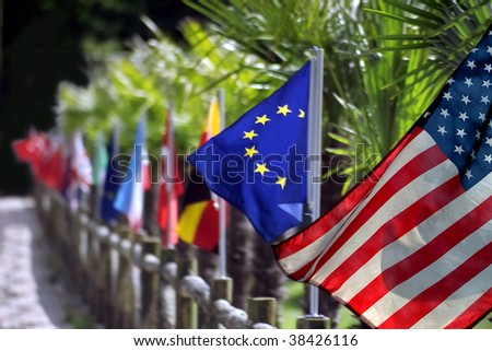 close up shot of several flags in a row - stock photo