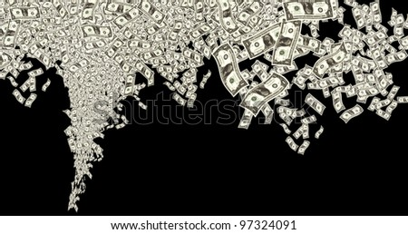 close up shot of several one American dollar in black background - stock photo