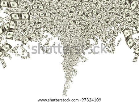 close up shot of several one American dollar in white background - stock photo