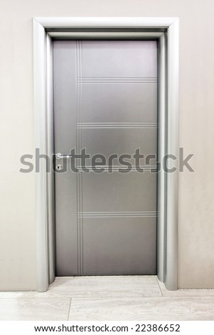 Close up shot of silver metal door