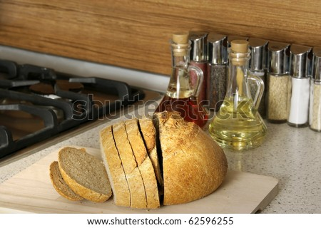 close up shot of sliced fresh bread - stock photo
