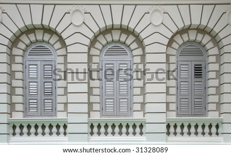 Close up shot of some european style windows
