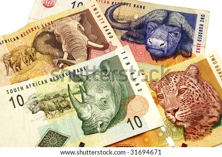 Close up shot of some south african banknotes - stock photo
