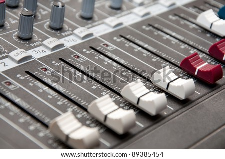 close up shot of sound mixer in studio  - shallow DOF
