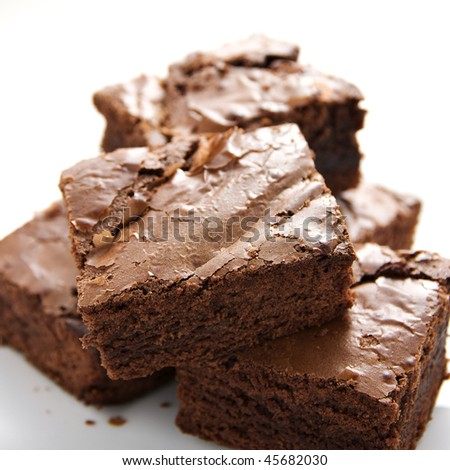 close up shot of sweet delicious brownies - stock photo