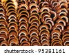 Close up shot of Thai temple roof tile stack,in temple Thailand - stock photo