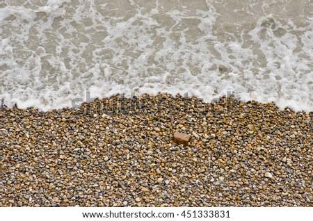 Close up shot of Thames river bank tide - stock photo