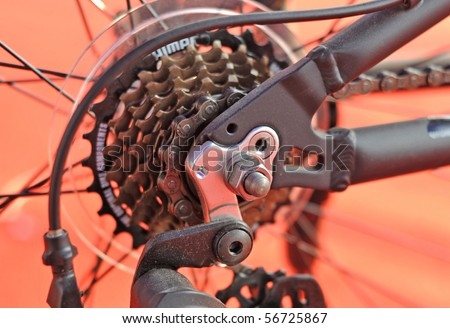 Close up shot of the bike parts - stock photo