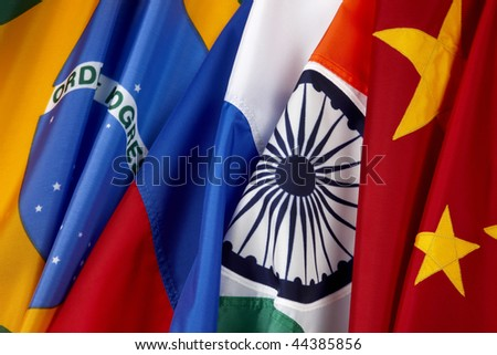Close-up shot of the BRIC country flags- Brazil, Russia, India, China - stock photo