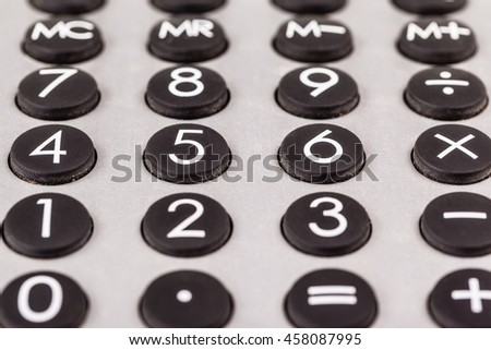 close up shot of the keyboard of a calculator - stock photo