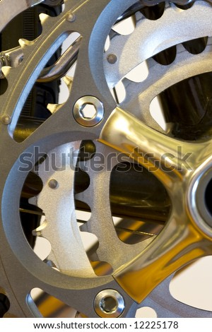 Close up shot of the rear gears of a performance bicycle	 - stock photo