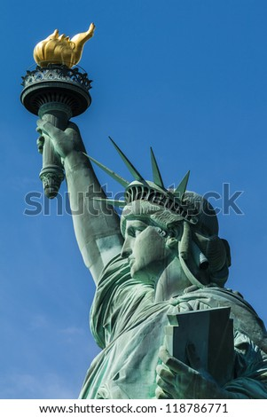 Close-up shot of the Statue of Liberty in New York city, USA. - stock photo