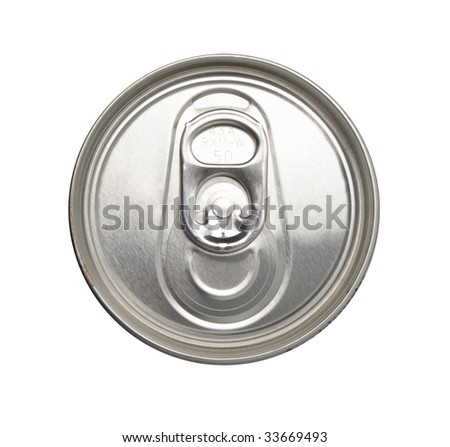 Close-up shot of the top of a canned drink - stock photo