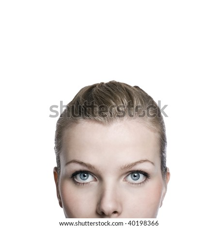 Close-up shot of the upper a part of womans face, Isolated on white
