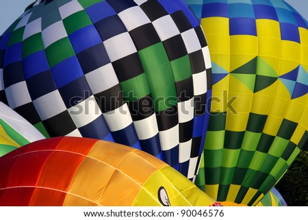 Close up shot of three colorful balloons - stock photo