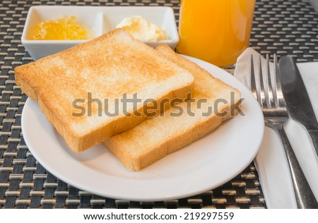 close up shot of toasted and coffee  image . - stock photo