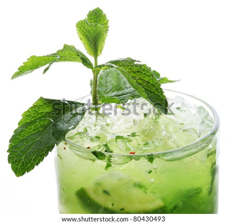 Close up shot of top of mojito. Isolated on a white. - stock photo