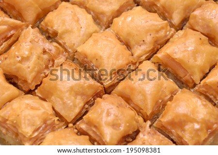 Close up shot of traditional homemade style Turkish baklava