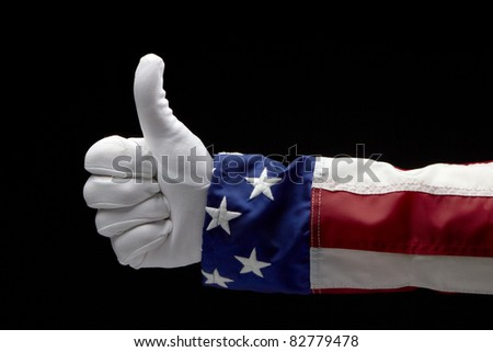 Close up shot of Uncle Sam giving the Thumb's Up sign - stock photo
