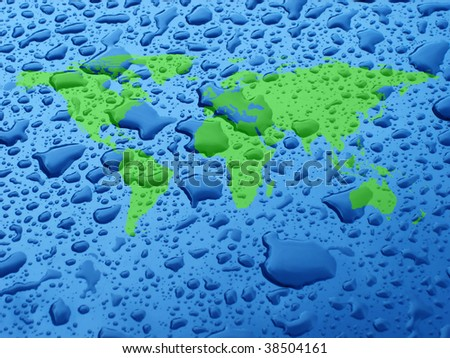 close up shot of water droplets with world map - stock photo