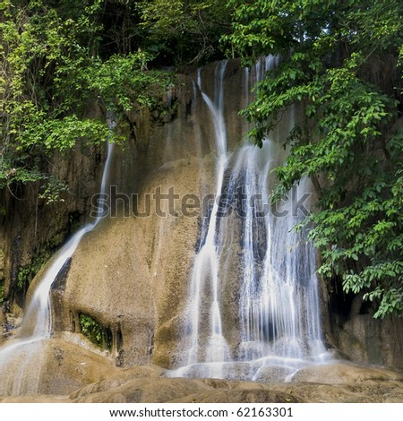 close up shot of waterfall in khoa yai national park thailand