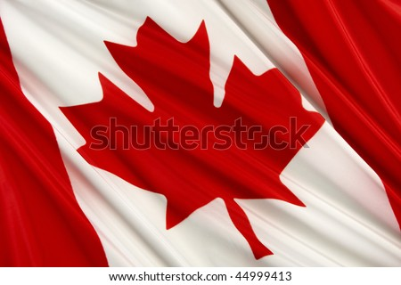 Close up shot of wavy Canadian flag - stock photo