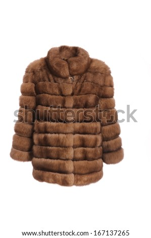 close up shot of woman fur coat isolated on white - stock photo