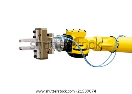 Close up shot of yellow robotic head isolated - stock photo