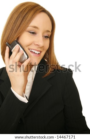 close up shot of young business woman smile while on the phone - stock photo