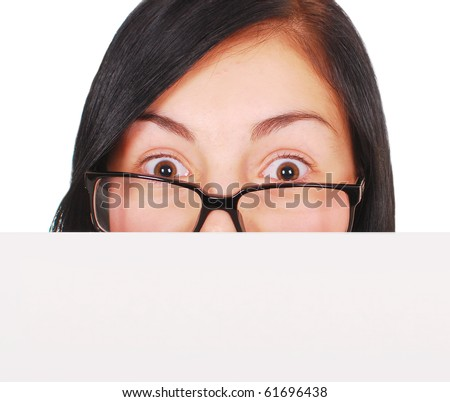 close up shot of young surprised woman with paper