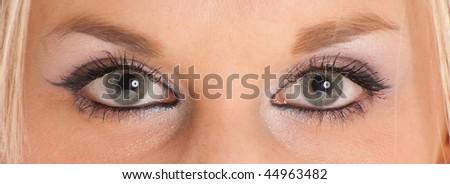 Close-up shot on a beautiful feminine green-blue eyes - stock photo